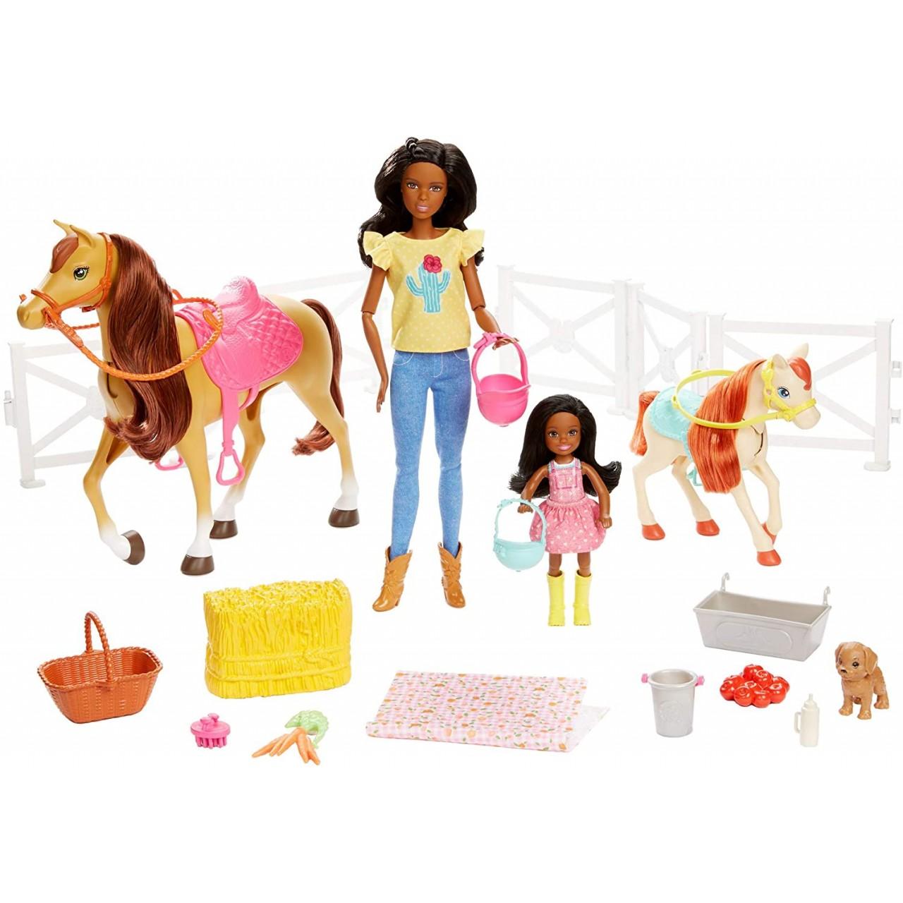 Ігровий набір лялька Барбі Брюнетка і Челсі Верхова їзда і обійми (FXH16) Mattel Barbie Hugs N Horses Playset