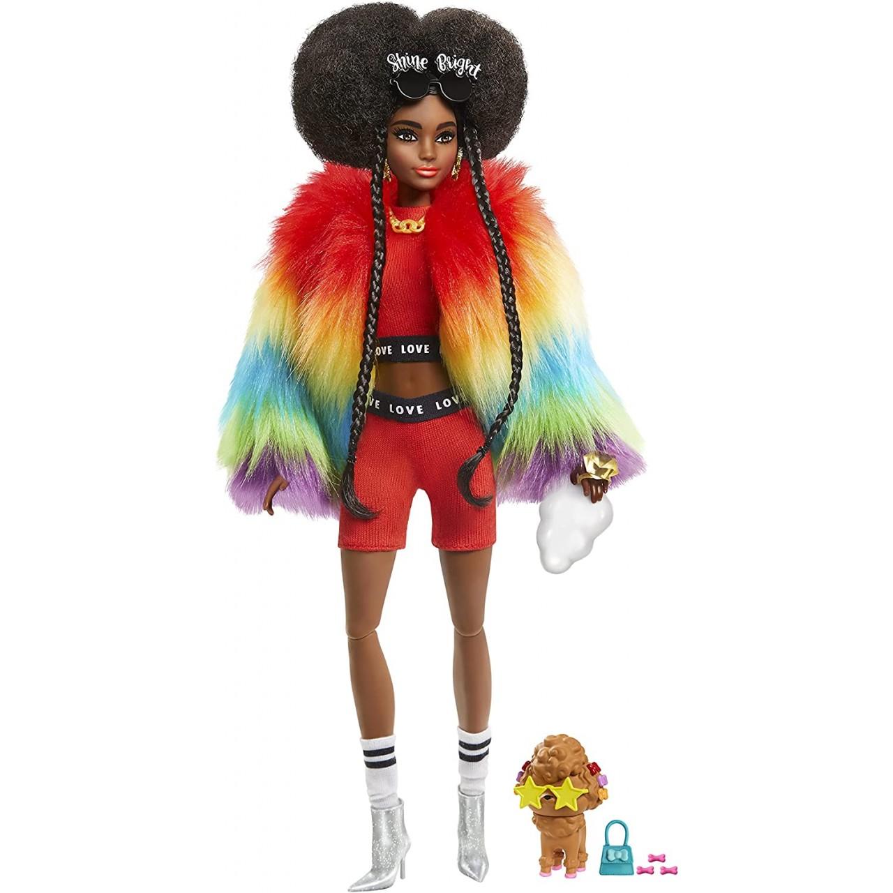 Лялька Barbie Extra у веселковій накидці (GVR04)