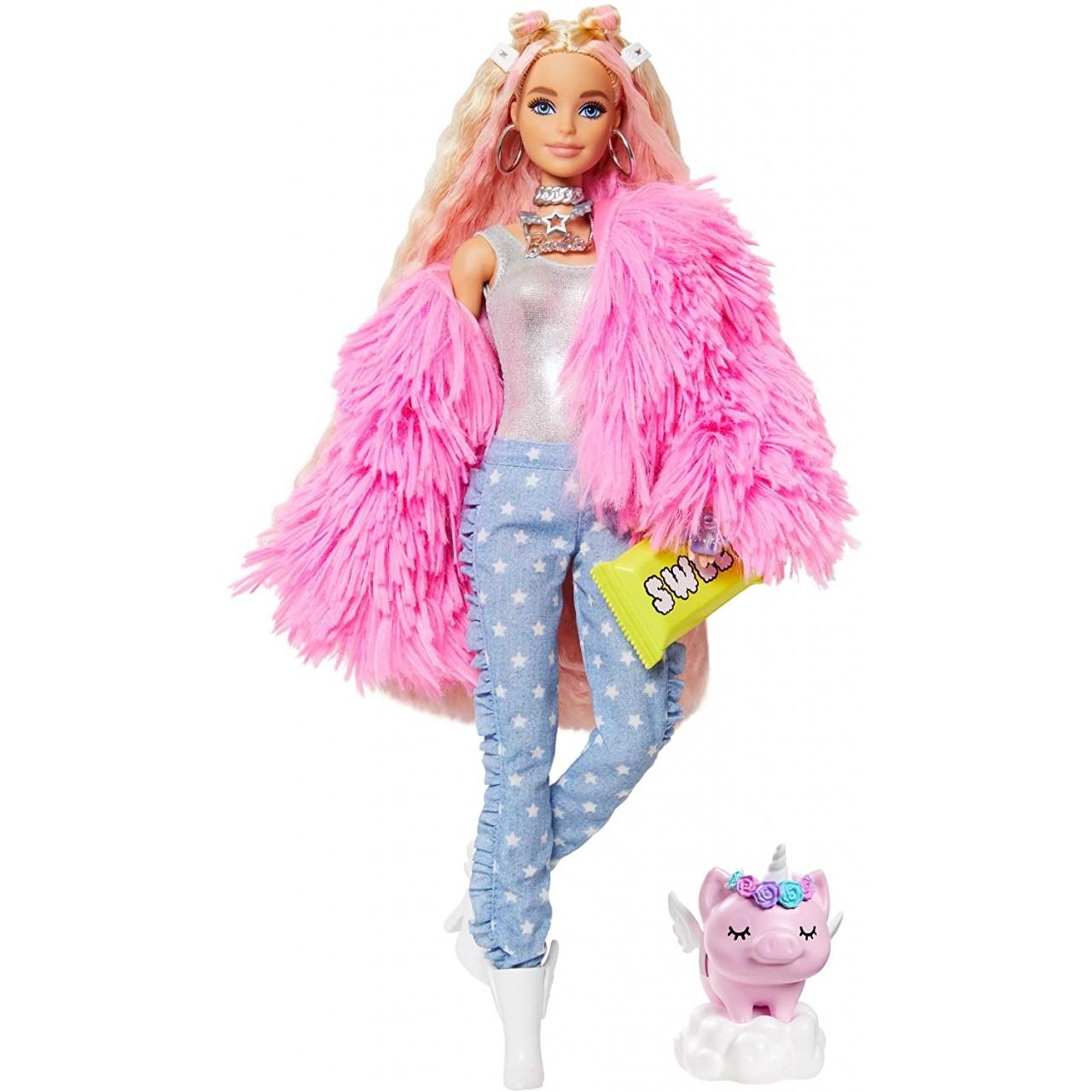 Лялька Barbie Extra у рожевому пухнастому жакеті (GRN28) від Mattel