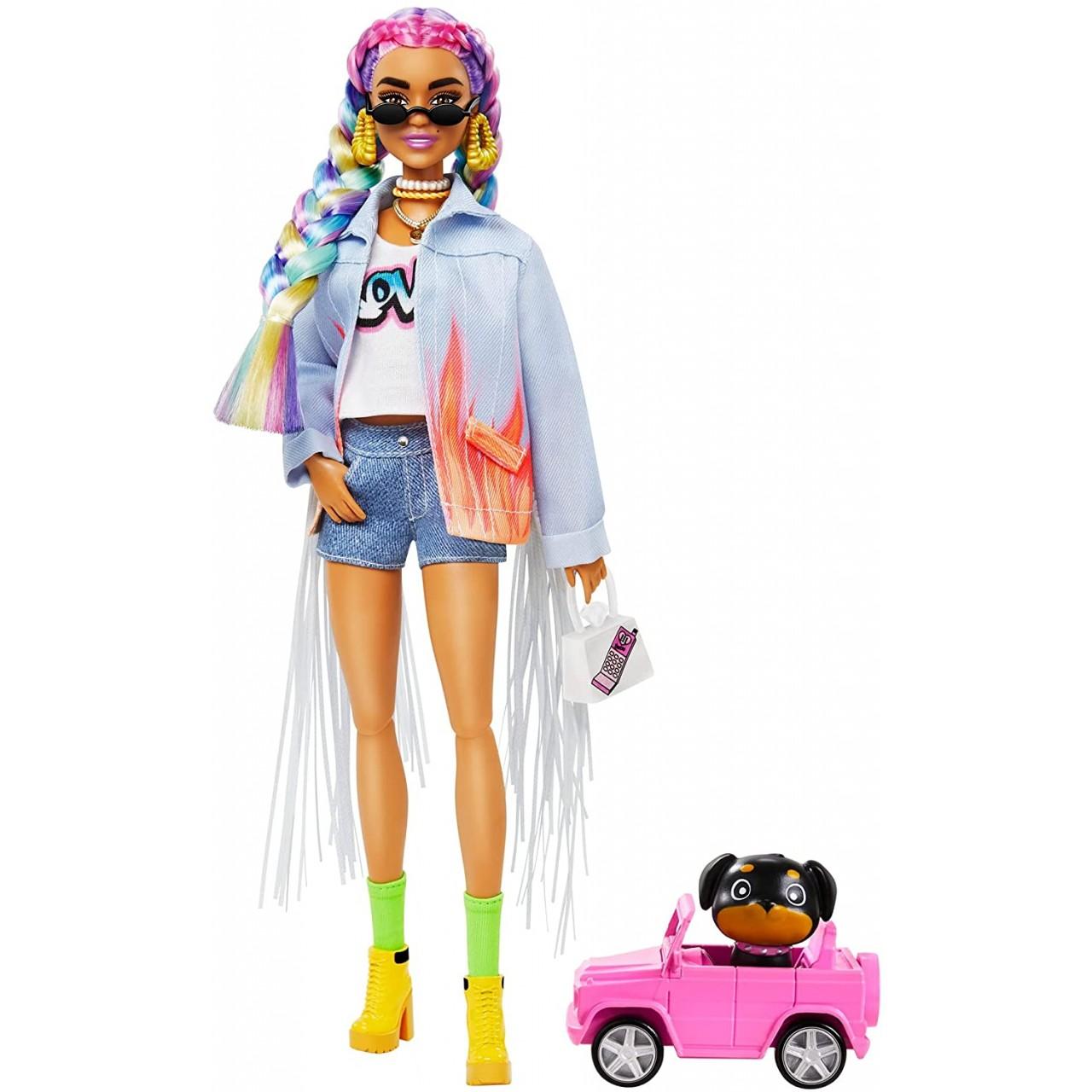 Лялька Barbie Extra з кольоровими косичками в джинсовій куртці (GRN29) від Mattel