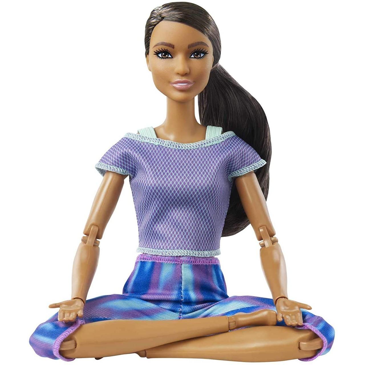 Лялька Барбі Made to move Брюнетка в блакитній футболці (GXF06) від Mattel