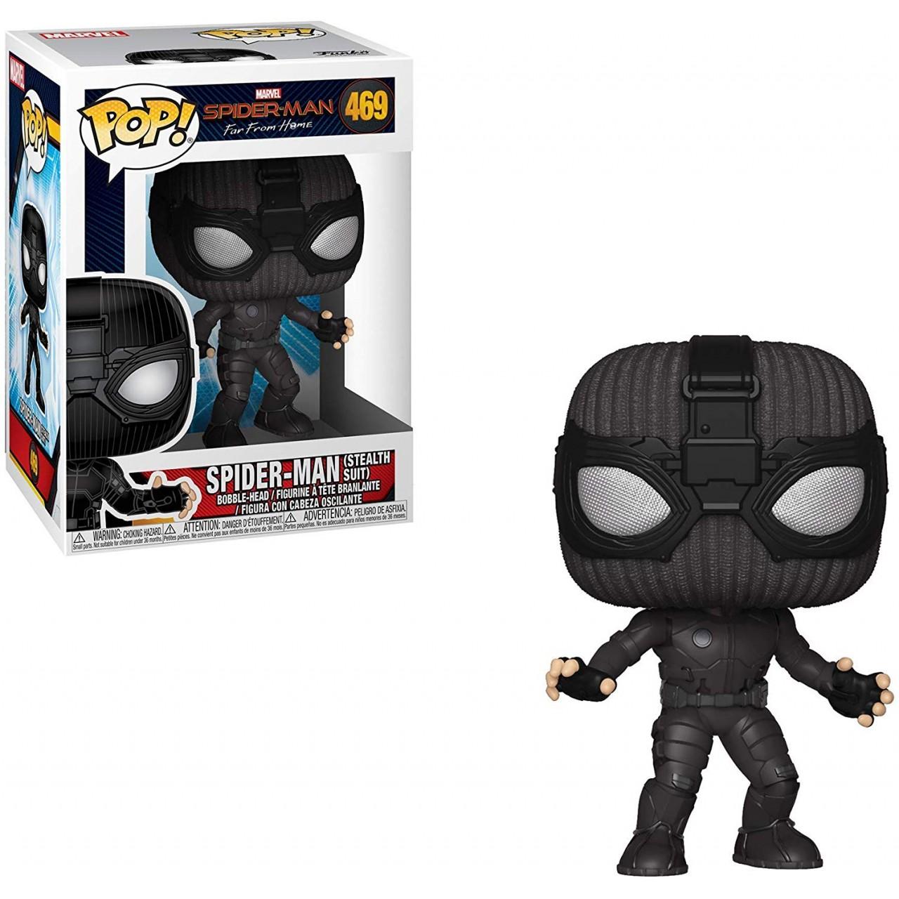 """Фигурка Funko Pop Мстители Марвел: Человек-паук """"Вдали от дома"""" в черном костюме (39208) #469 Marvel Spider-Man"""